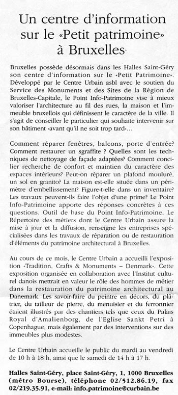 "Extrait de ""Journal de la construction"" du 14-12-2000"