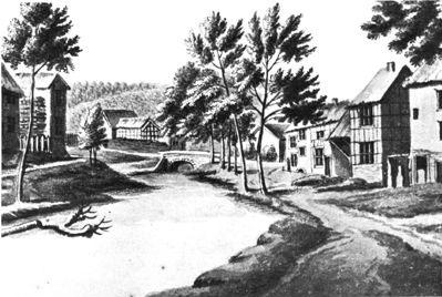 Le pont Mindroz sur le ruiseaude Barisart, officellement dit du Vieux-Spa. Sur la rive gauche, se voit le tracé de l'actuelle rue Collin-le-Loup.