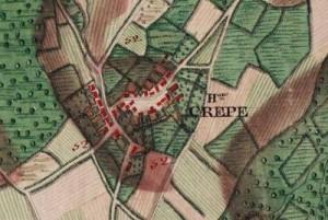 Hameau de Crepe, extrait carte Ferraris 1777 (Institut Géographique National –  www.ign.be)