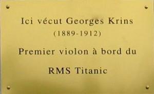 Plaque commémorative à la mémoire de Georges Krins.