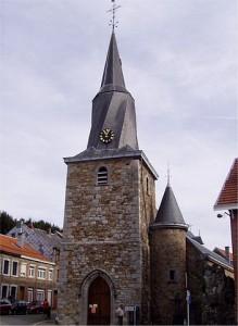 L'église de Polleur avec son fameux clocher torsadé