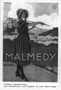 Couverture du livre «Malmedy Jadis» (carte postale des années trente)