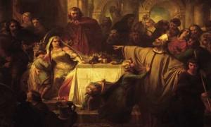 « Le Banquet de Jupille » ou les causes du martyr. Au centre, l'évêque Lambert, la tête haute, d'un large geste, désigne du doigt Alpaïde en signe d'opprobre. Assise à gauche, dominée par Pepin, la concubine protège sous son bras droit le jeune Charles Martel, fruit de ses amours adultères. Derrière eux, un peu dans l'ombre, Dodon, frère d'Alpaïde.