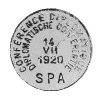 A l'occasion de la Conférence Diplomatique, la Poste de Spa utilisa un cachet spécial pour oblitérer le courrier du 5 au 16 juillet 1920.