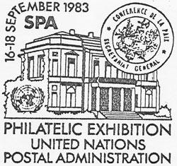 En 1983, pour les 10 ans du cercle philatélique spadois « Histophila », l'Administration Postale des Nations Unies de Genève créa un cachet souvenir spécial.