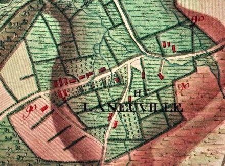 Le hameau de «La Neuville»  carte Ferraris de 1777 (I.G.N. – www.ign.be)