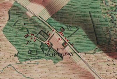 Le hameau de Hocquay – Extrait de la carte Ferraris de 1777 (I.G.N.– www.ign.be)