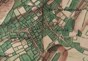 Les Hameaux: Au Tige, Arbre d'Epine et Les Trois Fontaines - extrait carte Ferraris 1777 (Institut Géographique National – site internet: www.ign.be)