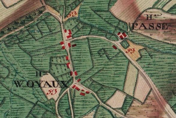 Hameaux de «Woyaux» et «Passe», extrait carte Ferraris de 1777 (IGN-www.ign.be)