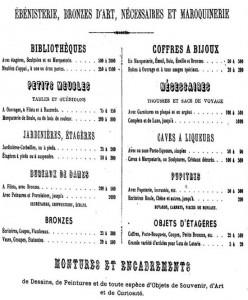 Un extrait du catalogue des produits réalisés par Jean-Pierre Tahan.