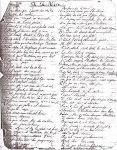 Chanson écrite par Henri-Eugène Defossez en 1888  (Document appartenant au Dr Raymond Archambeau)