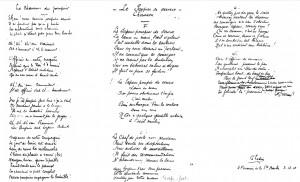 Manuscrit des 2 chansons