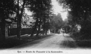 L'entrée du Château du Neubois, le long de la route du Tonnelet à la Sauvenière (carte postale collection M. Hans)