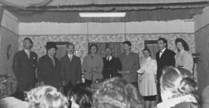 Creppe en 1959: Salle de l'Amicale du Plateau (photo collection G. Dohogne) P. Randaxhe, R. Pottier, P. Pottier, M. Dohogne, J. Wuidart, R. Mathy, M. Pottier, M. Boniver, M. Brédo