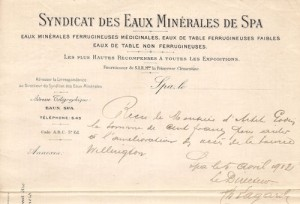 Reçu du «Syndicat des Eaux Minérales de Spa» (collection Xavier Coibion)