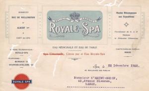 En tête d'une lettre de la société «Royale Spa» (collection Xavier Coibion)