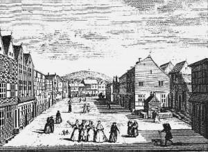 Dessin d'Antoine Le Loup représentant la place de Spa au 18ème siècle. Cet endroit est le centre primitif du bourg, toutes les maisons situées à gauche appartenaient à la famille Bredar.