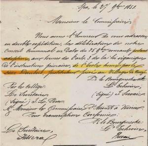 Document des Archives communales spadoises. En décembre 1851, l'école privée du sieur Daubois au village de Nivezé a été adoptée par la commune de Spa.