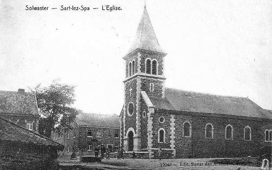 Solwaster en 1910 : l'église Saint-Antoine de Padoue (carte postale)