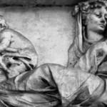 la fresque de l'hiver montre la jeune femme bien couverte et les putti faisant un feu pour se protéger du froid.