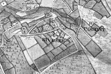 Hameaux de Nivesée et de Pouont, extrait carte Ferraris 1777 (Institut Géographique National – site internet : www.ign.be