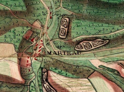 Hameau de Marteau, carte Ferraris 1777(Inst. Géographique National  www.ign.be)