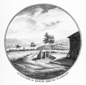 1750 : La Fontaine du Nivezé ou source du Bricolet Antoine Le Loup, lavis à l'encre de Chine (collection Musées de la Ville d'Eaux – Spa)
