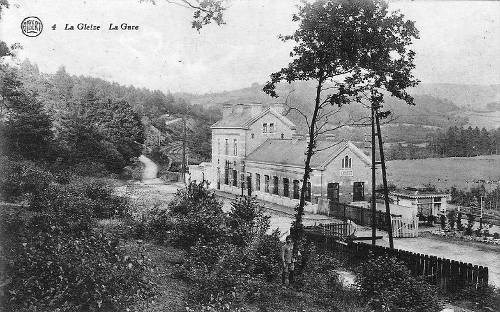 Carte postale 1910: la gare de La Gleize