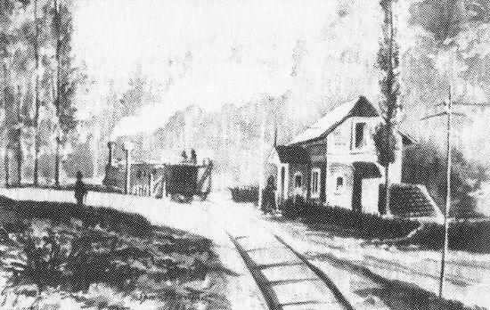 La petite gare de Marteau dessinée par le notaire Gustave Gernay (collection Musées de la Ville d'eaux – Spa)