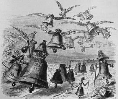 La gravure de Grandville (1803-1847) intitulée Le Voyage des cloches à Rome.