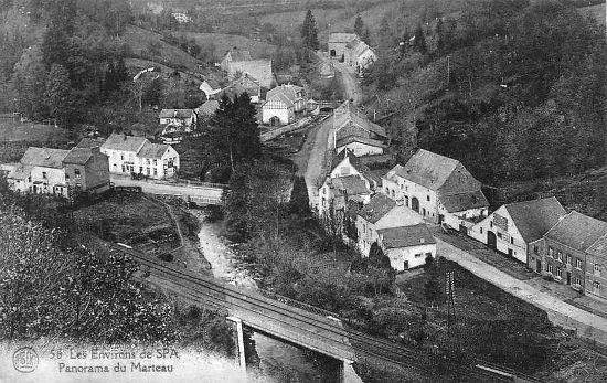 1920 : Hameau de Marteau (carte postale) On constate la présence d'une double voie sur la ligne Pepinster – Spa