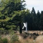 La croix Honnay de béton endommagée à la suite de travaux forestiers.