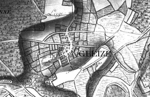 Le village « Gleize », extrait de la carte Ferraris de 1777 (I.G.N. – www.ign.be)