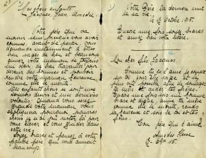 Une lettre qu'Amédée Hesse a adressée à ses enfants avant d'être fusillé par les Allemands durant la guerre 1914-1918.