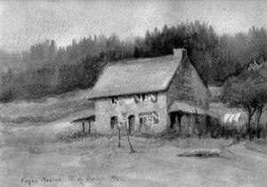 La maison du jardinier en 1926 aquarelle de Mme de Lavelèye. Les langes que l'on peut voir à droite sont ceux de la maman de Madame Antoinette Ancieaux.