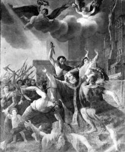 « Le Martyr de Saint Lambert » en l'an 696 par J.H. Tahan (photo IRPA)