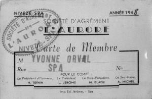 1948: Carte de membre de la Société d'Agrément «L'Aurore»