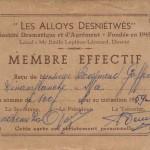 1960: carte de membre de la Société Dramatique et d'Agrément «Les Alloys Desniétwès» (collection Raymond Goffin)