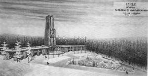Le projet de Mémorial conçu par l'architecte liégeois L. Jacquemin (Extrait de « Jean Deby », A. Andries)