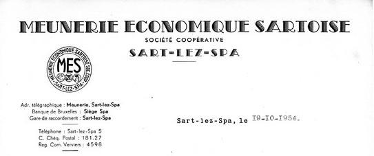 En-tête d'une lettre de la Meunerie Economique Sartoise
