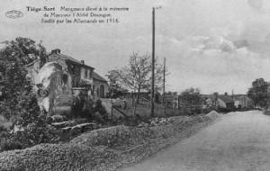 Monument à la mémoire de l'abbé Dossogne sur la route Tiège-Verviers.