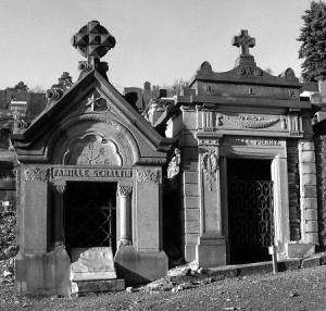 Monuments du cimetière qui évoquent les familles Schaltin et Pierry.