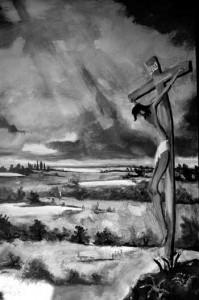 La fresque représente un Christ en Fagne, elle remplace une ancienne fresque de la Vierge.