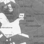 Situation du pré Saint Jean (Extrait d'une carte de l'Office du tourisme de Spa 1986)