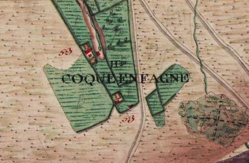 Hameau de «Coque en Fagne», extrait carte Ferraris de 1777 (IGN – site www.ign.be)