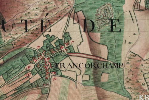 Le village de « Francorchamp », extrait de la carte Ferraris  1777 (www.ign.be)