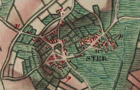 Le hameau de « Ster », extrait de la carte Ferraris de 1777 (I.G.N. – www.ign.be)