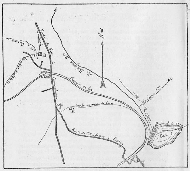 Plan de situation du barrage de la Hoëgne (Extrait de « Pour le barrage de la Hoëgne », Cdt. Lemaire)