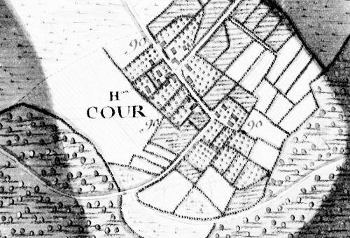 Le hameau de « Cour » extrait de la carte Ferraris de 1777 (I.G.N.www.ing.be)