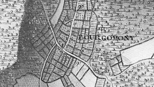 Le hameau de « Bourgomont » extrait de la carte Ferraris de 1777 (I.G.N. – www.ign.be)
